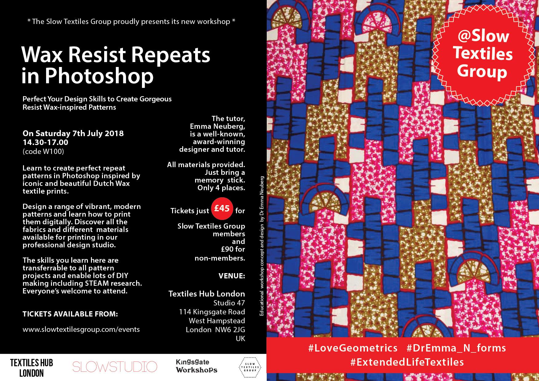 Slow Textiles Group Design Workshop 100 (code W100)